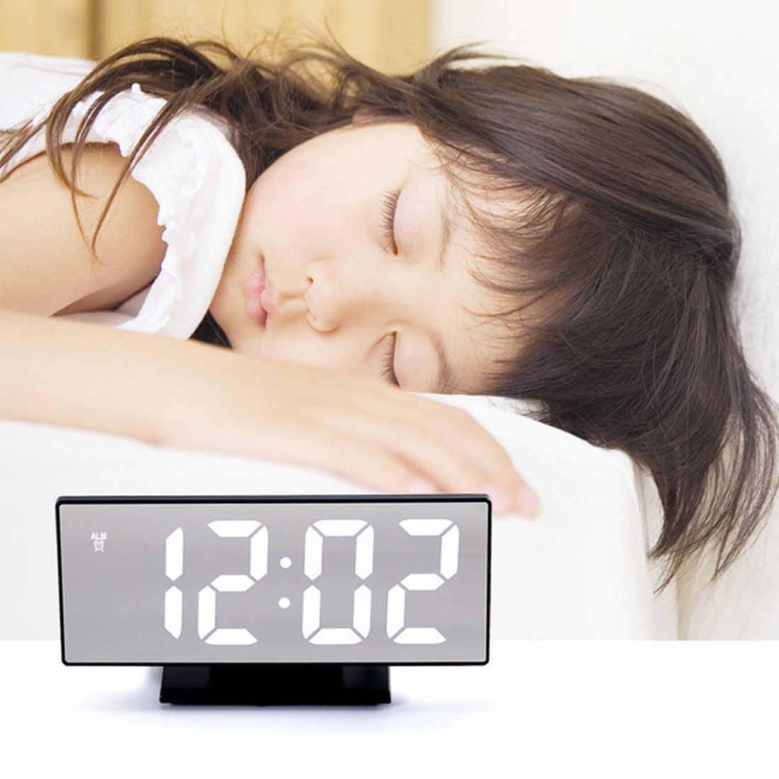 منبه رقمي على مدار الساعة LED مرآة ساعة متعددة الوظائف منبه رقمي على مدار الساعة عرض الوقت طاولة ليلية سطح المكتب Despertador