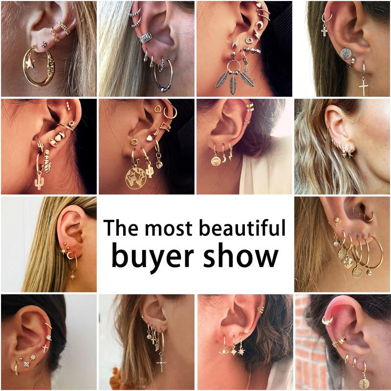 BLINLA Vintage Bohemian Mixed Metal Earrings Set Gold Geometric Cubic Zirconia Star Moon Eyes Stud Earrings For Women Jewelry