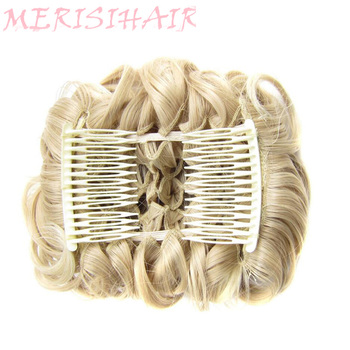 MERISI HAIR 2 Plastic Comb Clip In Curly Synthetic Hair Pieces Chignon Updo Cover Hairpiece Extension Bun Accessories - discount item  14% OFF Synthetic Hair