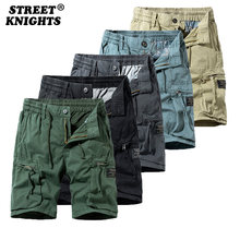 2021 New Summer Solid Color Fashion Cotton Casual Breeches Cargo Men Shorts Men Breathable Quick Dry Multi Pocket Hip Hop Short
