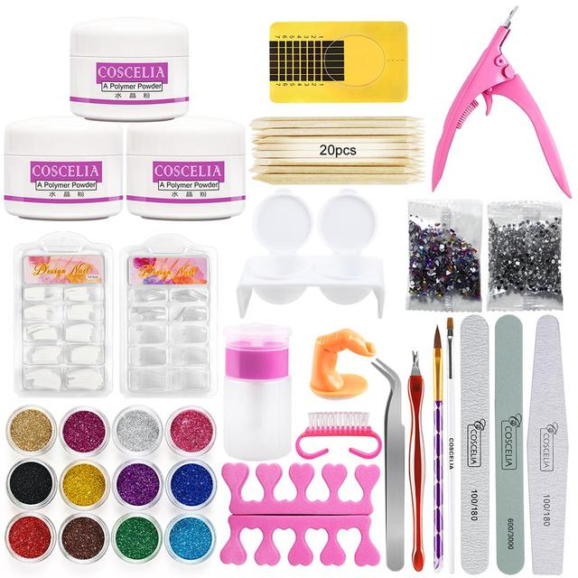 Acrylic Nail Art Kit Manicure Set 12 Colors Nail Glitter Powder Decoration Acrylic Pen Brush Nail Art Tool Kit For Beginners 1