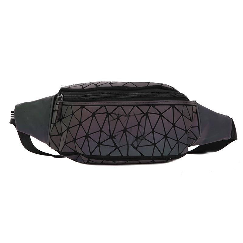 Adi Celebrity Style Rhombus Night Light Wallet Geometry Wallet Rhombus Bag Japanese Korean Fashion Casual Chest Pack Reflective