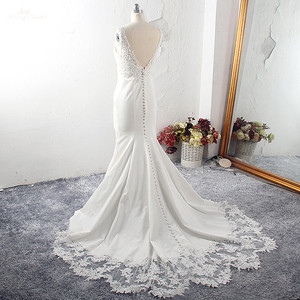 Image 3 - RSW1591 Vestido De Noiva Strech Satin Lace Mermaid Wedding Dresses 2020 Mouwloze Cut Out Trein