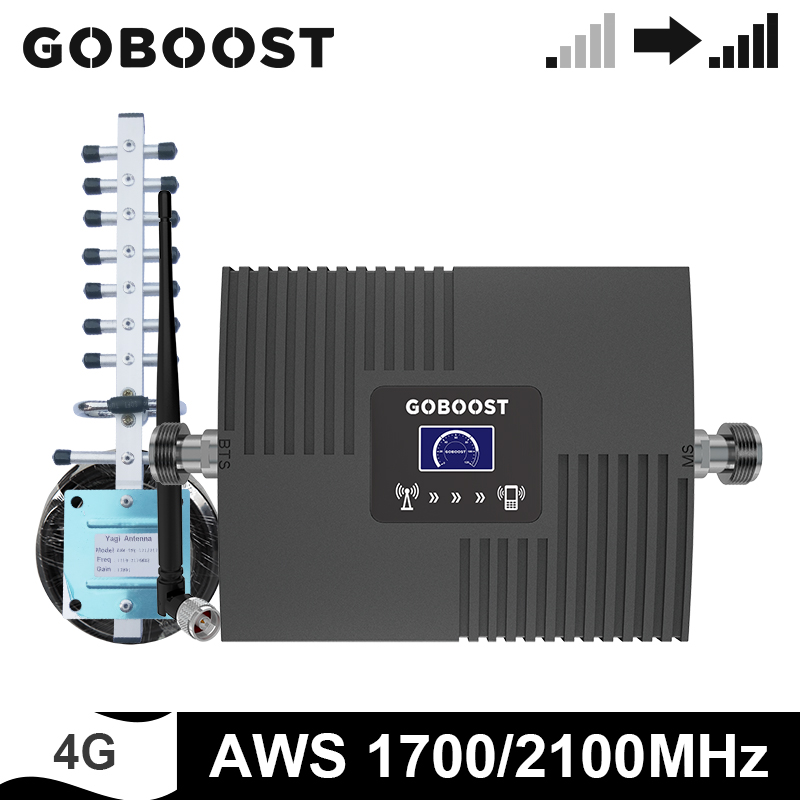 GOBOOST 4G Signal Booster AWS 1700 2100 MHz Repeater Mobile Phone Amplifier Band 4 Antenna + 10 Meter Coaxial Cable