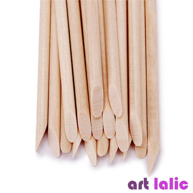 100 Pcs Nail Art Design Orange Wood Stick Sticks Cuticle Pusher Remover Manicure Pedicure Care 5