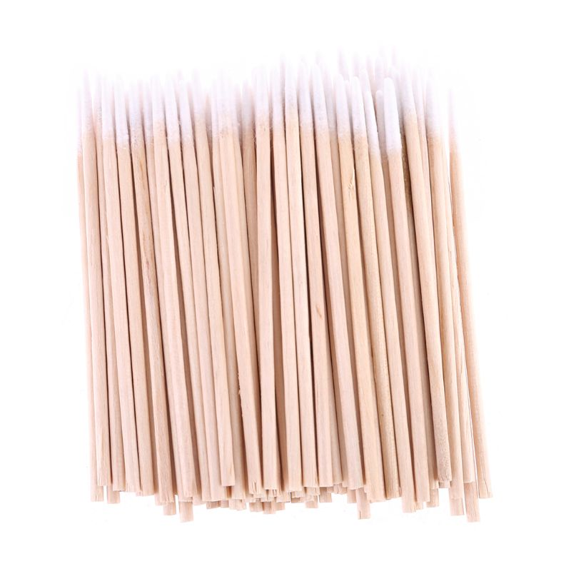100pcs Disposable Ultra Small Swab Cotton Buds Wooden Brushes Eyelash Extension