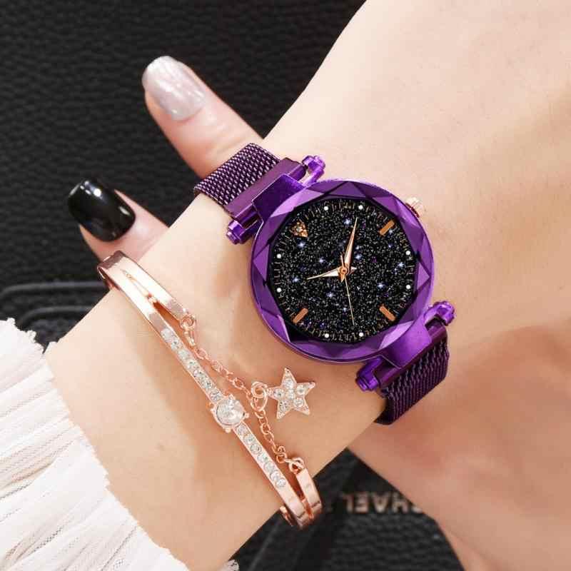יוקרה נשים שעונים אופנה אלגנטי מגנט אבזם זוהר רוז זהב גבירותיי שעוני יד 2019 חדש שמי זרועי הכוכבים Relogio Feminino