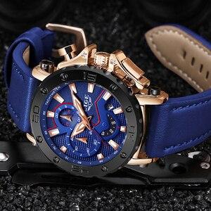 Image 4 - LUIK Nieuwe Heren Horloges Topmerk Luxe Grote Wijzerplaat Militaire Quartz Horloge Blauw Lederen Waterdichte Sport Chronograaf Horloge Voor Mannen
