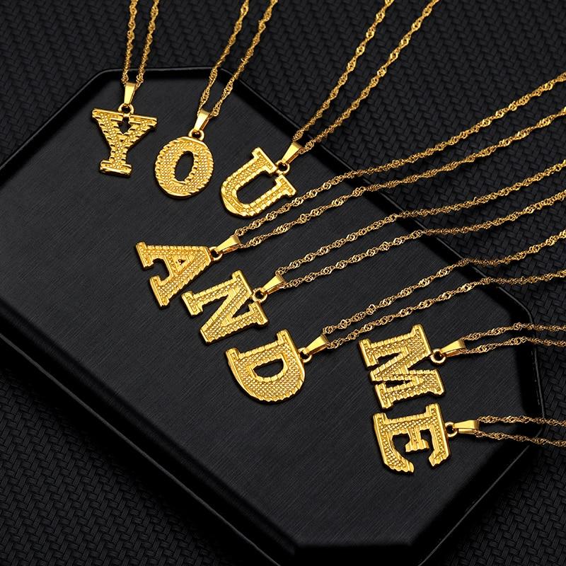 Celine Alphabet Necklace Stainless Steel Gold A-Z