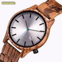 DODO DEER Men's Calendar Wood Watch Simple Zebra Wood Watch Custom Engraving Personalized Watch Мужские часы B09 2 4