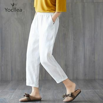 New Large size Women Pants spring and summer Ankle-lenght Pants Loose casual Harem Pants like Cotton and Linen trousers summer harem pants for baby girl clothes cotton and linen pants trousers ankle length flower print pants children leggings