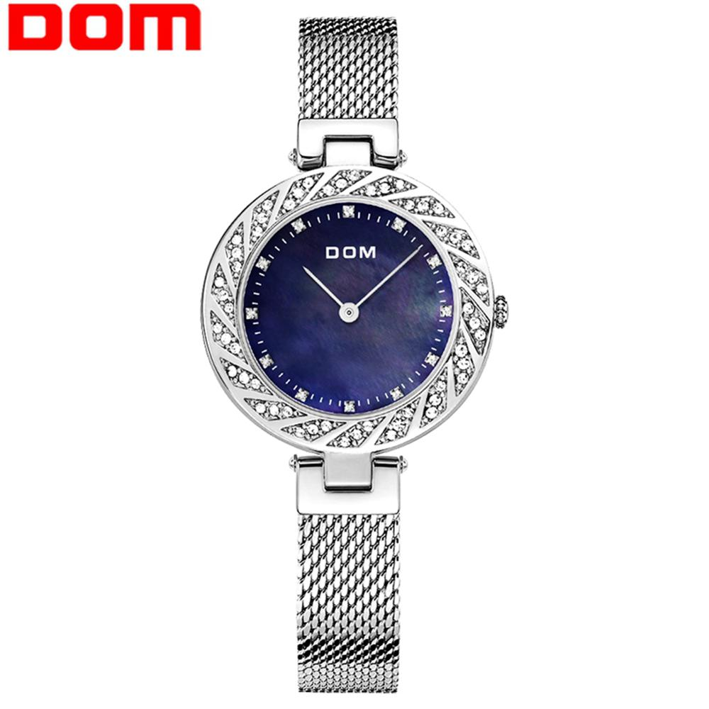 DOM Woman Watches SIlver Top Brand Luxury Watch Women Quartz Waterproof Women's Wristwatch Ladies Girls Watches Clock G-1279D-2M