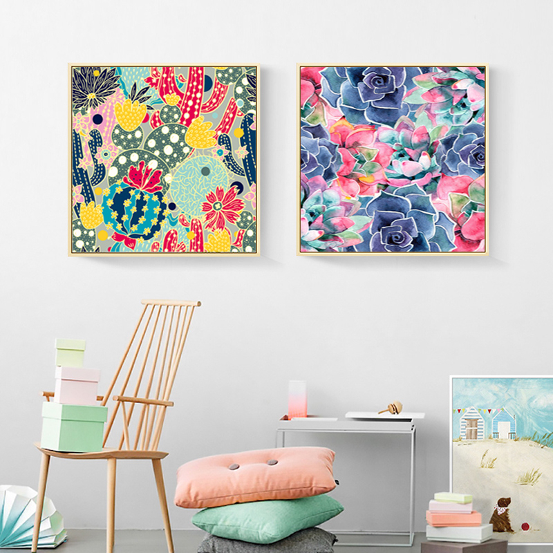 modern cactus flower plants nordic canvas paintings van life