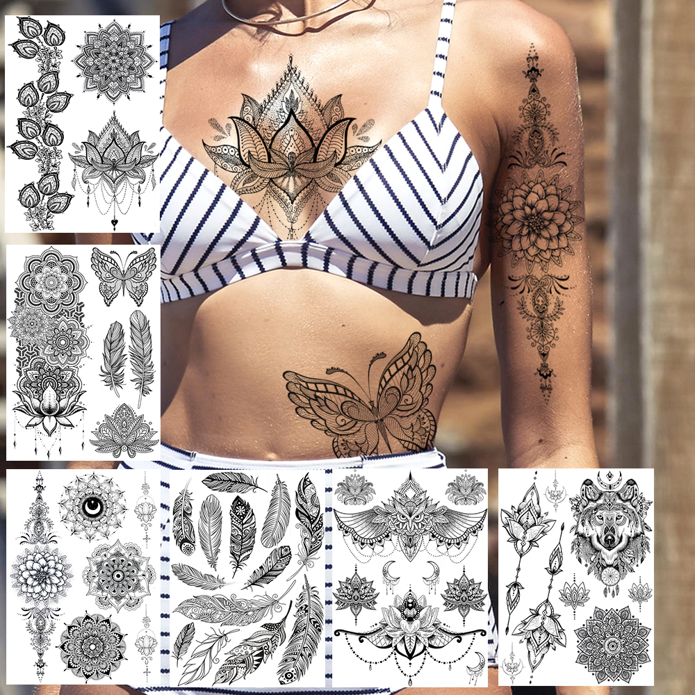 Sexy Black Henna Temporary Tattoos Lace Lotus Pendant Tatoos Body Chest Art For Women Adult Fake Wolf Owl Jewelry Tattoo Sticker