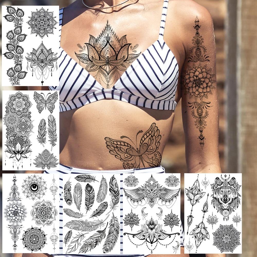 Sexy Black Henna Temporary Tattoos Lace Lotus Pendant Tatoos Body Chest Art For Women Adult Fake Wolf Owl Jewelry Tattoo Sticker(China)