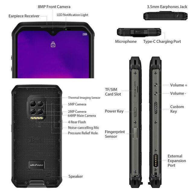 Ulefone Armor 9 Rugged Mobile Phone Thermal Imaging Camera FLIR® Android 10 128GB Smartphone Helio P90 Mobile Phone 6600mAh 64MP 5