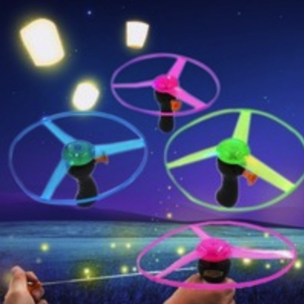 Plastic UFO LED Light Color Random Stay Wire Outdoor DIY Spinning Flyer Funny For Kids Gift Fans Flying Toys Handle Flash