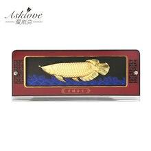 Golden Dragon Fish Statue Fengshui Decor Home office Art deco Bring Wealth Money Good Luck Desktop Ornaments Gold Foil Gifts