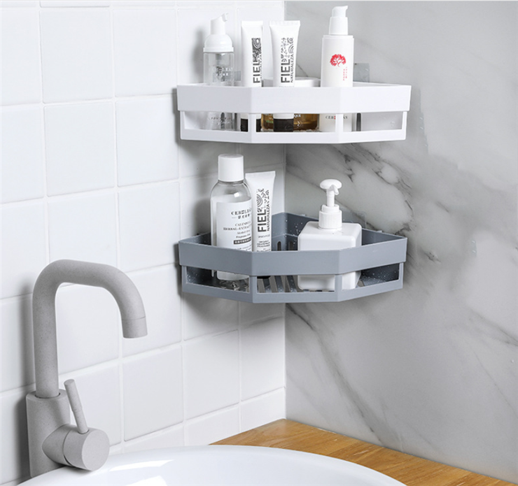 Triangular Bathroom Corner Shelf Rack Qrganizer Bathroom Shower Storage Shelf  Shampoo Soap Cosmetic Basket Holder 3 Colors