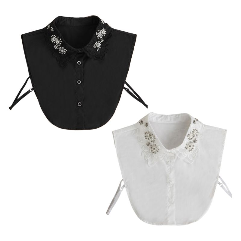 Women Detachable Fake Collar Rhinestone Faux Pearls Embroidery Floral Half-Shirt