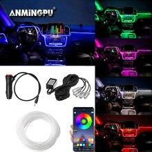 ANMINGPU Car Neon LED Strip Lights Atmosphere Interior Light App Music Control Multiple Modes RGB Auto Ambient Decorative Lamp