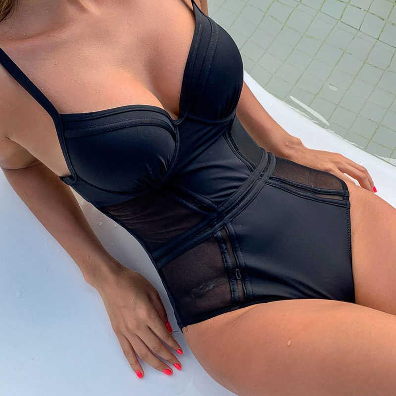 Sexy Push Up Badpak Strand Mode Cup Badmode Lady Mash Ademend Bodysuit Zwart Een Stuk Pak Bad Monokini