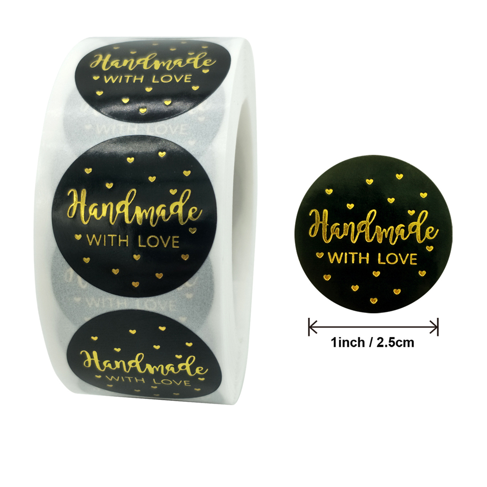 50-500pcs handmade with Love Stickers Baking label wedding sticker party label decoration envelope seal stationery black sticker