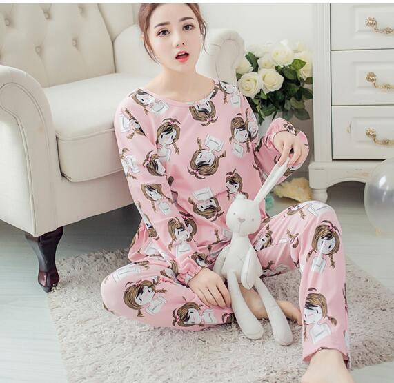 Spring Autumn 20 Style Thin Carton Generation Women pajamas Long Sleepwear Suit Home Women Female Sleep Top Wholesale Pajamas 12