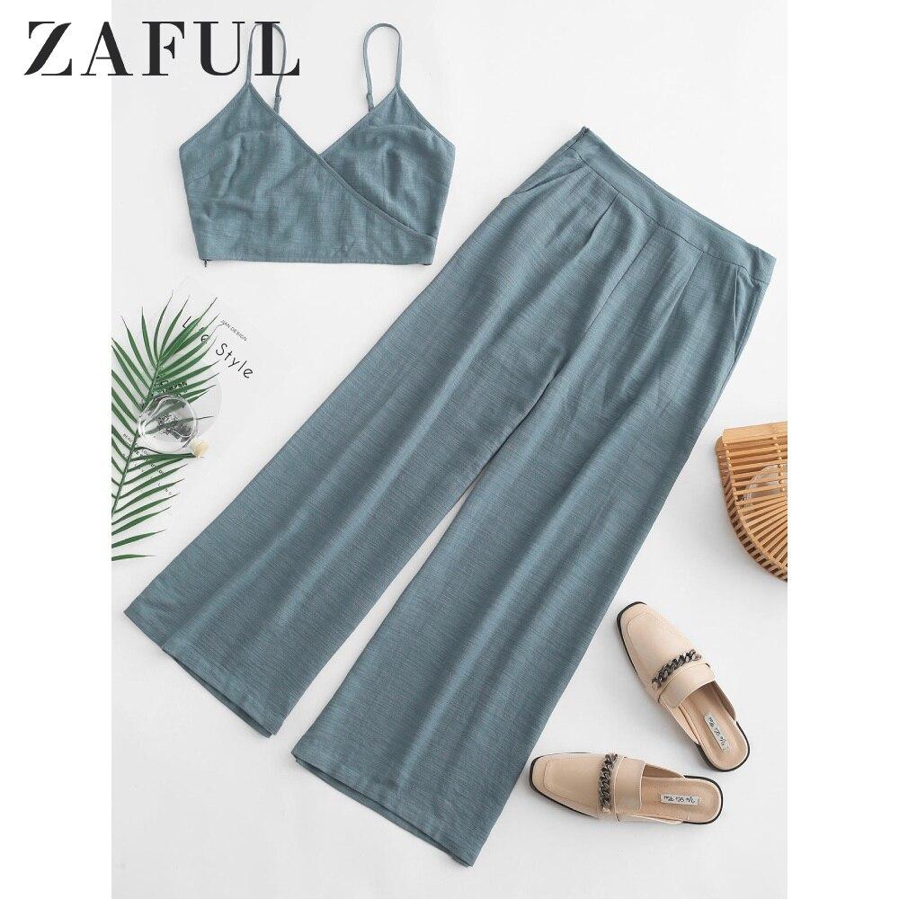 ZAFUL Cami Pocket Straight Pants Set Women Strap Crop Top Two Piece Outfits Straight Short Twinset Zipper High Waist Pants Set