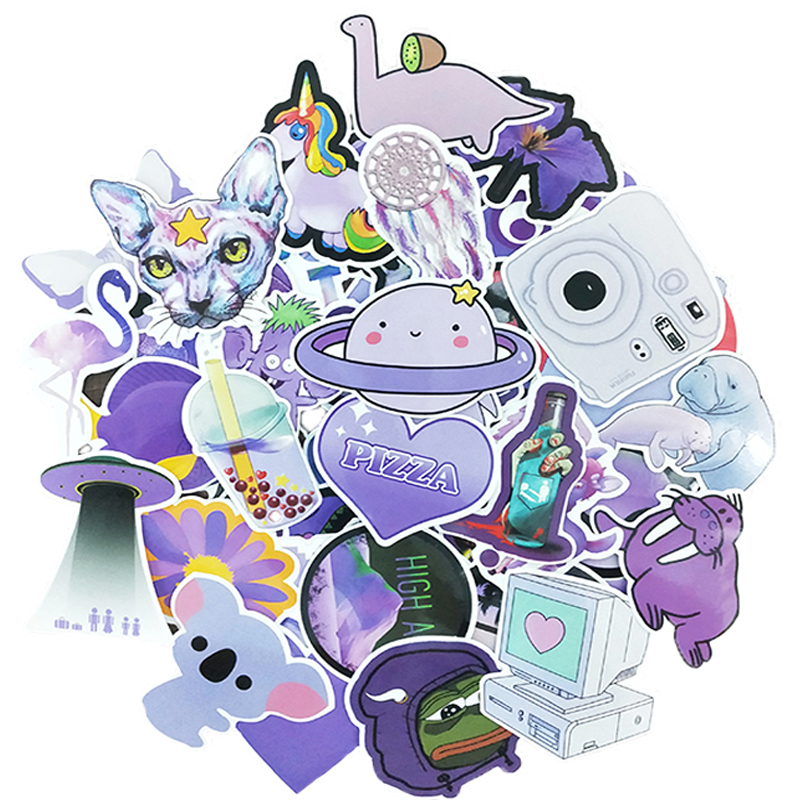 61PCS Cute Animal Stickers Cool Purple Vsco Graffiti Waterproof DIY Luggage Bike Helmet Notebook Skateboard Toy Stickers