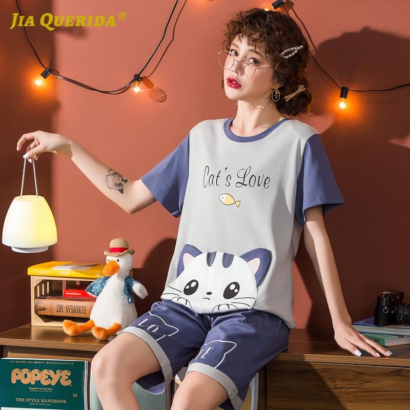 New Short Sleeve Short Pants Cartoon Printing Crew Neck Pajamas Set Homesuit Homeclothes Fashion Style Casual Style Sleepwear