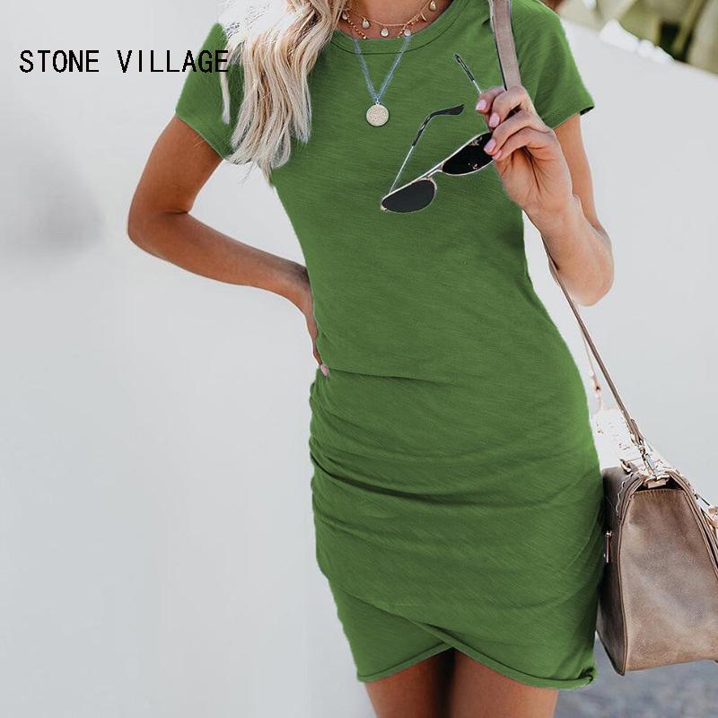 2020 Summer Women Dresses New Short-Sleeved Jumper Round Neck  Solid Sexy Mini Dress Casual Bodycon Beach Dresses Plus Size XXL