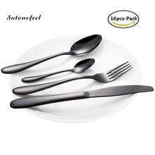 16 adet yemek takımı seti paslanmaz çelik bıçak seti çatal kaşık kepçe bıçak Dishware seti mutfak sofra mutfak barbekü aleti