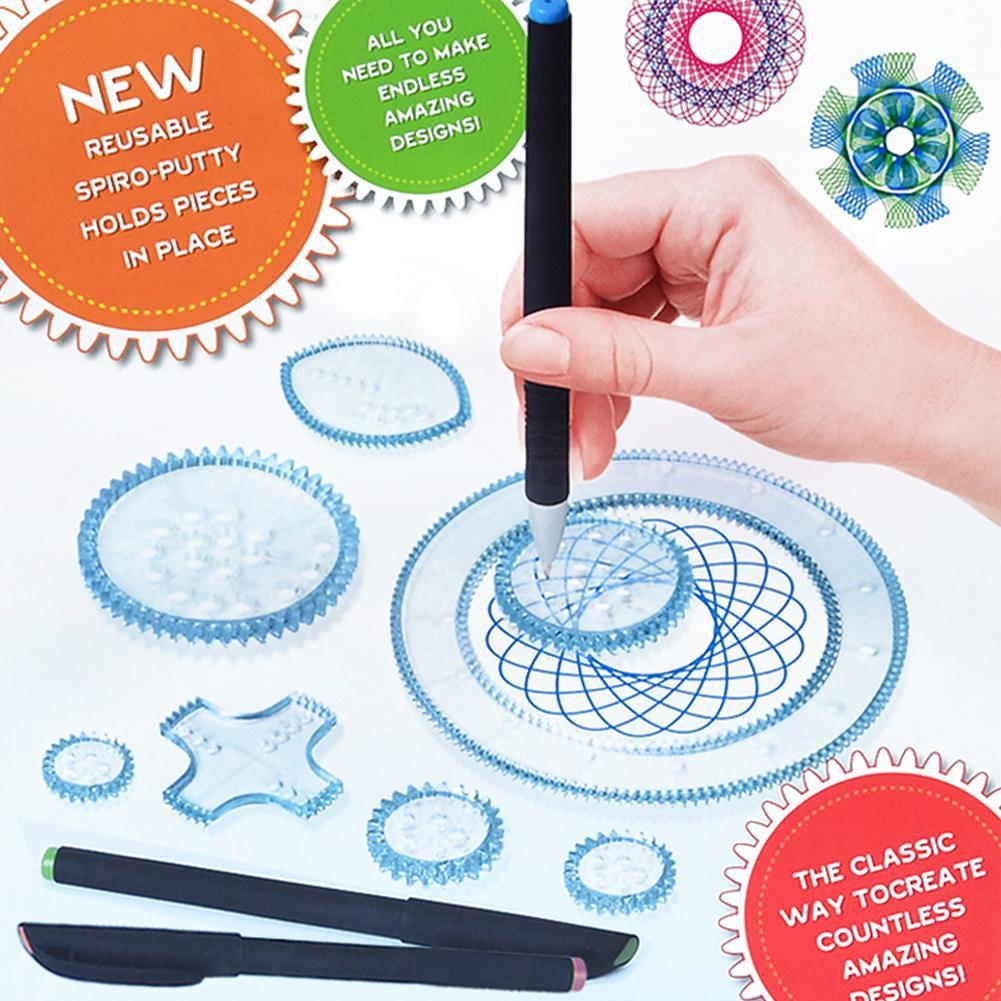 1Set Art Painting Set Spirograph Magic Drawing Toys Kids Art Craft Create Toy Children's Art Painting Template Ruler Stationery