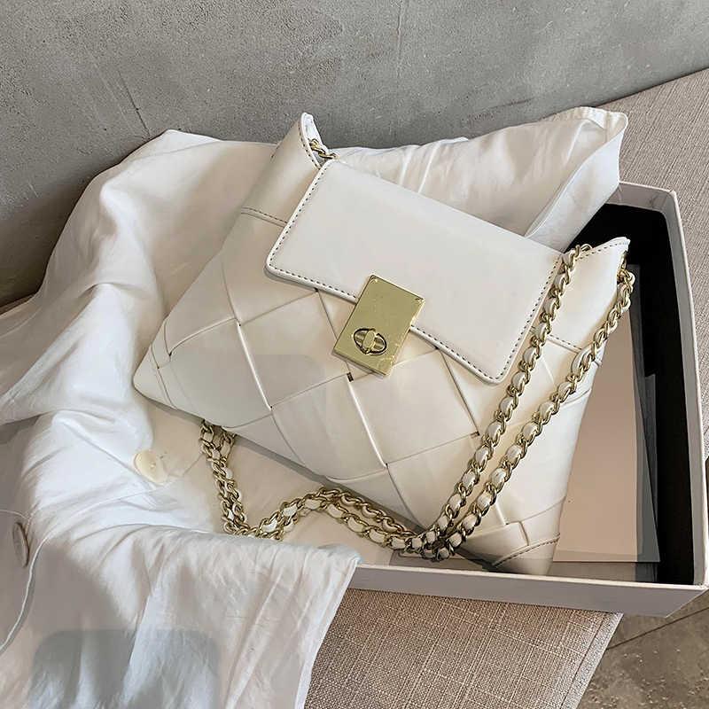 Женская сумка-Кроссбоди YL, плетеная квадратная сумка из искусственной кожи на цепочке, сумка-мессенджер на плечо, 2020