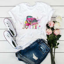 Verano Mujer camiseta gráfica acuarela para mujer estampado Vintage brújula Mundo Cámara flor moda mujer camiseta