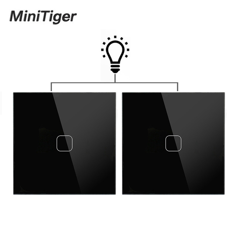 Minitiger EU Standard Wall Light Touch <font><b>Switch</b></font> 1 Gang 2 Way Control Wall Light Touch Screen <font><b>Switch</b></font>, Crystal Glass Panel image