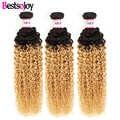 Bestsojoy 3 or 4 Bundles 2 Tone Brazilian Kinky Curly Hair Weave 1B/27 Ombre Kinky Curly Human Hair 3 Bundle Deals
