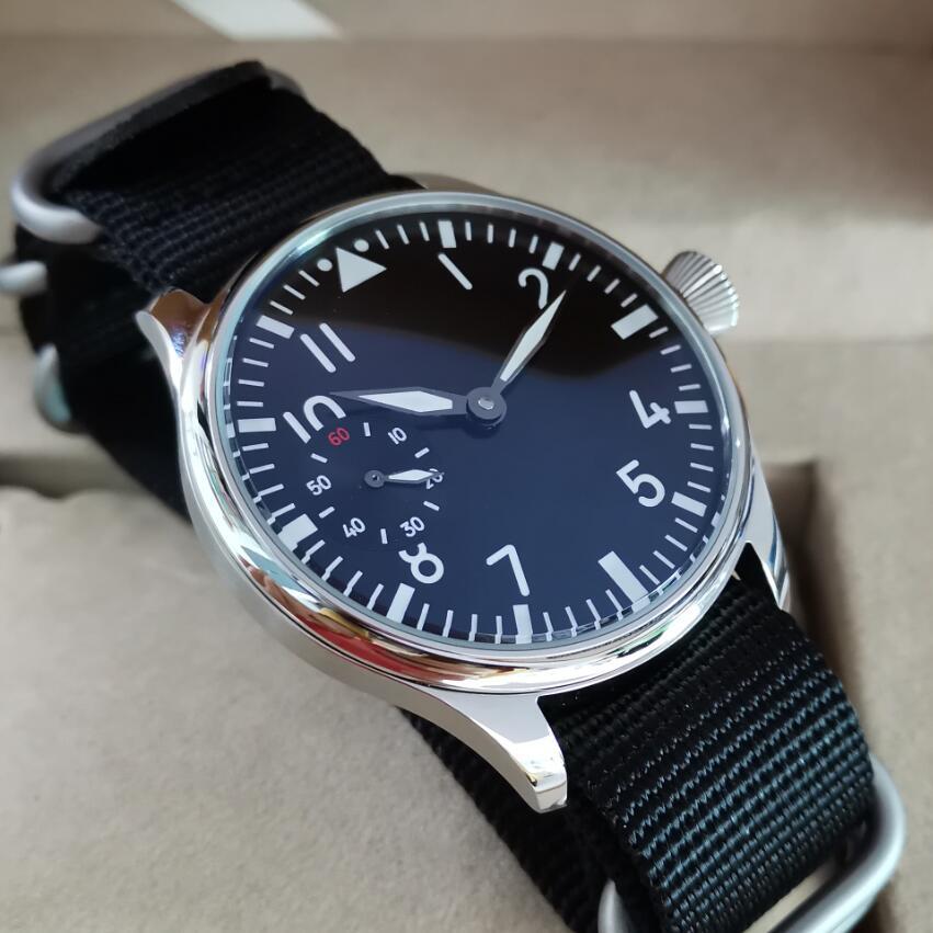 44mm Pilot Not Have Logo Mechanical Hand Wind Men's Watch Black Dial Mineral Glass/Sapphire Seagull St3600-2 Movement G038