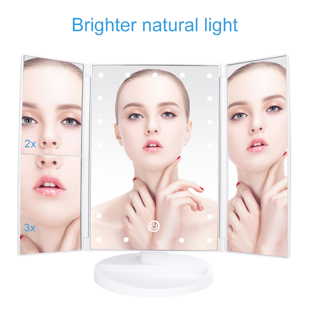 Купить с кэшбэком 21 LEDs Folding Lamp Luminous Makeup Mirror 2X/3X Magnifying 180 degree Rotating Adjustable Tabletop Cosmetic Mirrors