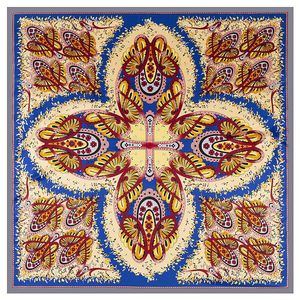 Image 1 - 2020 ビッグスクエアシルクレディース高級ブランドツイルスカーフショール蝶プリント卸売 130*130 センチメートル冬のスカーフの女性