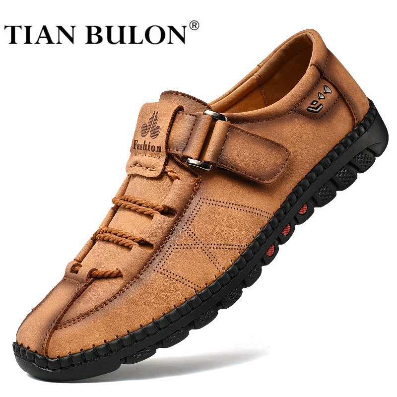 Handmade Men Casual Shoes Fashion Sneakers Genuine Leather Mens Loafers Moccasins Breathable Slip On Boat Shoes Adult Footwear