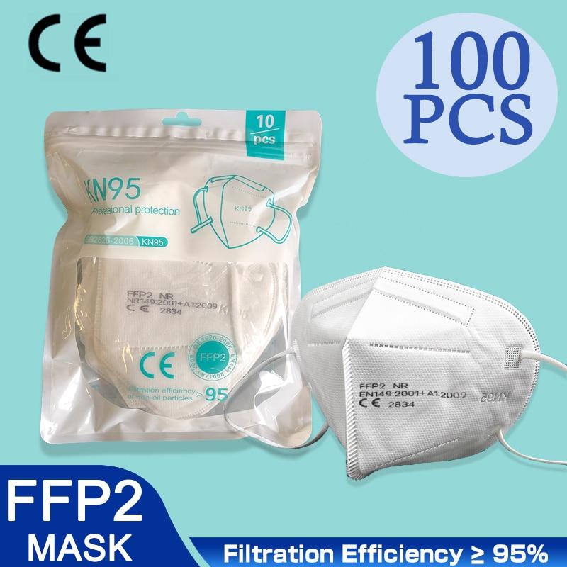 100 pièces CE FFP2 masque 5 couches KN95 masques anti-poussière visage protecteur FPP2 Mascarillas filtre respirateur FPP3 FFP3 réutilisable