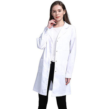 White Lab Coat For Women Jackets White Nurse Coat Turn Down Collar Windbreaker Button Jacket Outwear Oversize Chaqueta Mujer New
