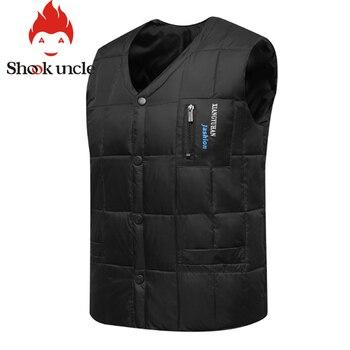 80% White Duck Down Vest Men Autumn Winter Warm Sleeveless V-neck Button Down Bodywarmer Waistcoat Thick Slim Casual Male Vest