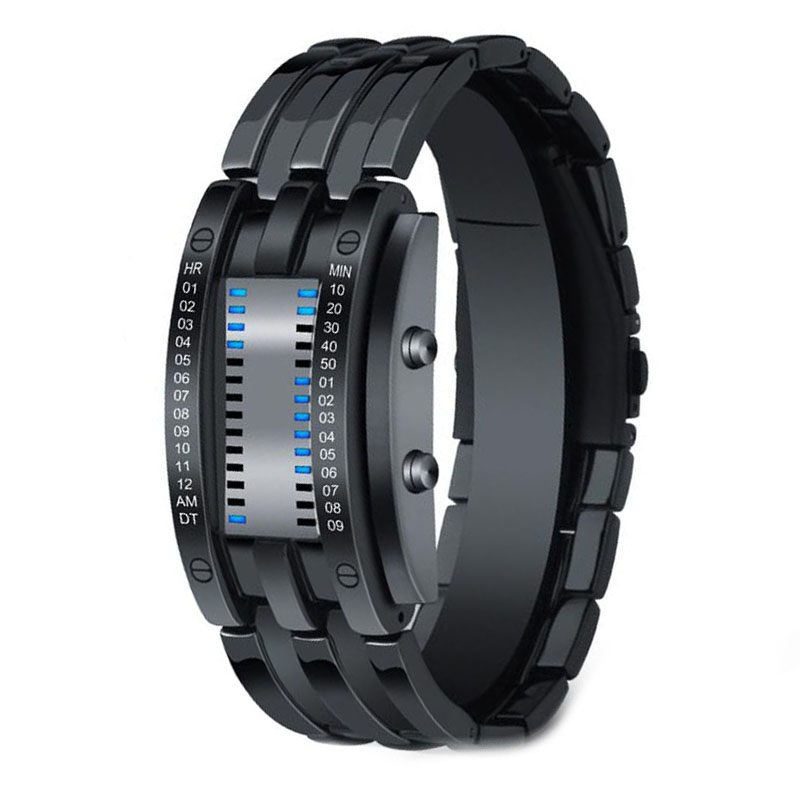 Digital Watches Binary Creative Bracelet Stainless-Steel Fashion Relogio Black Masculino