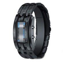 Fashion Creative Watches Men Led Binary Black Stainless Steel Bracelet Digital Relogio Masculino