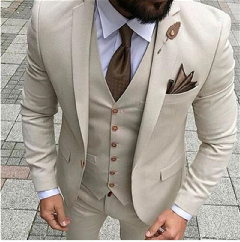 Solovedress Custom Terno Men's Solid Suit 1 Button Notched Lapel Beige Blazer Tux Vest & Trousers Prom Dinner Wedding Tuxedos