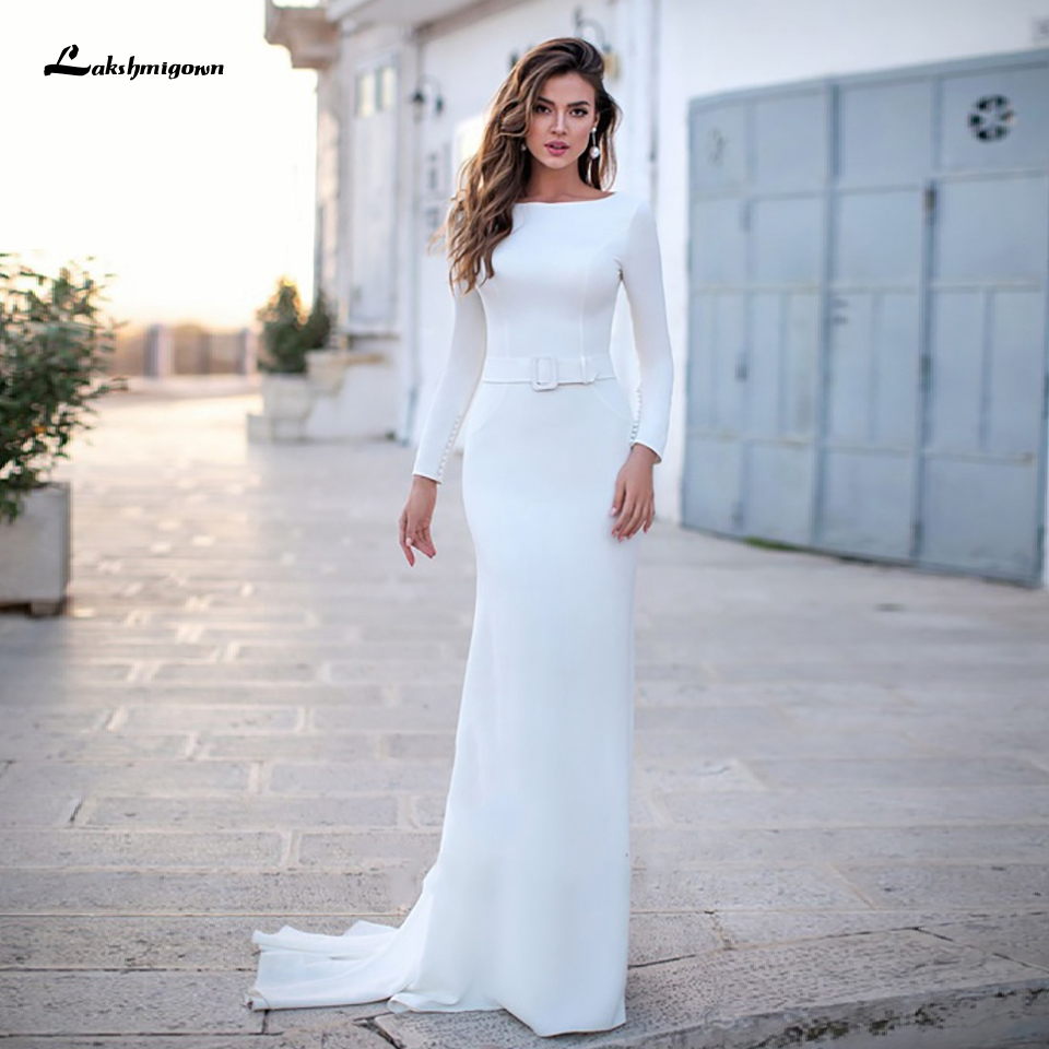 Lakshmigown Boho Satin Mermaid Wedding Dress Backless Elegant Long Sleeve Bridal Dress 2020 Vestidos De Novia Wedding Gowns