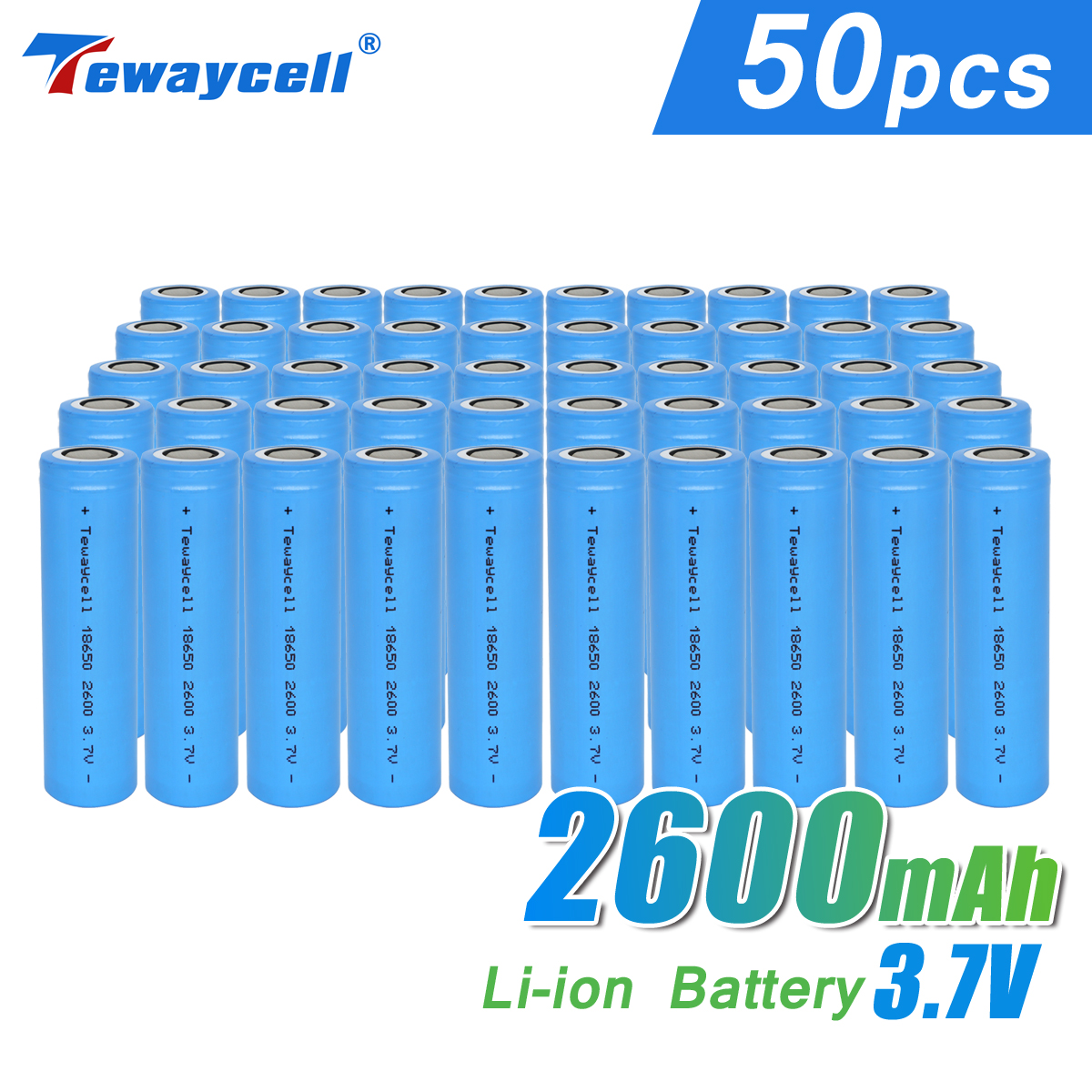 Hot Selling 50pcs per lot carton ICR 18650 3.7v 2600mah lithium li-ion batteries for electric tools free shipping